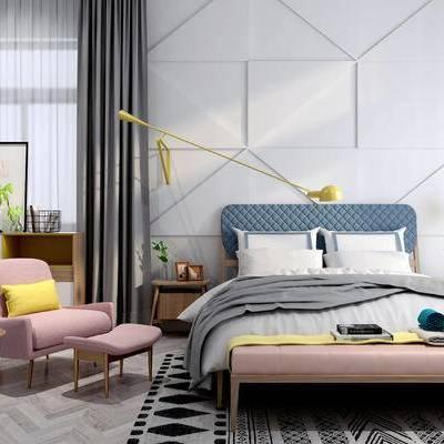 床具组合, 双人床, 椅子, 床头柜, 边几, 边柜, 壁灯, 花瓶, 北欧