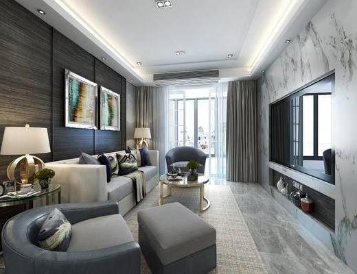 后现代客厅, 壁画, 多人沙发, 台灯, 茶几, 椅子, 边几, 桌子, 吊灯, 沙发脚踏, 后现代