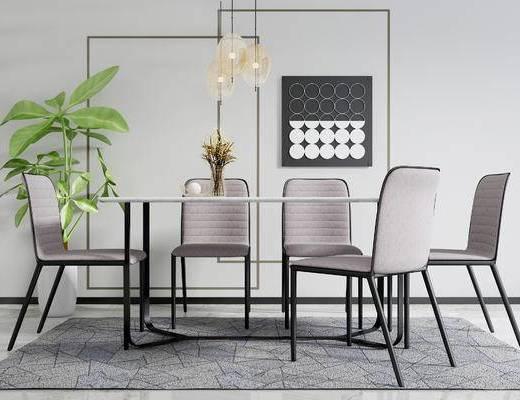 现代桌椅组合, 餐桌, 单椅, 盘栽, 墙饰, 吊灯, 现代
