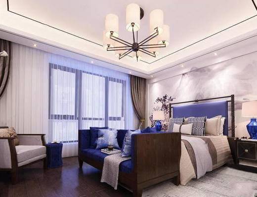 新中式, 卧室, 吊灯, 沙发, 床, 床头柜, 台灯, 窗帘, 单椅, 现代, 地毯, 下得乐3888套模型合辑