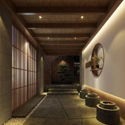 走廊过道, 楼梯, 置物架, 盆栽, 中式