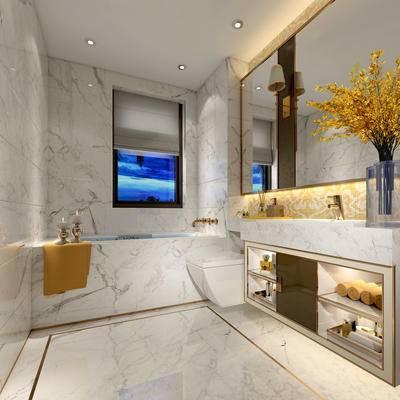 卫生间, 浴缸, 洗手台, 镜子, 花瓶, 毛巾, 马桶, 现代