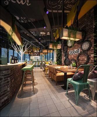现代咖啡厅, 吧台, 吧椅, 椅子, 吊灯, 桌子, 现代