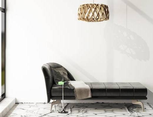 摆件组合, 贵妃椅, 吊灯, 边几, 现代