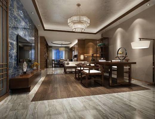 中式客厅, 电视柜, 落地灯, 椅子, 吊灯, 多人沙发, 置物柜, 桌子, 中式