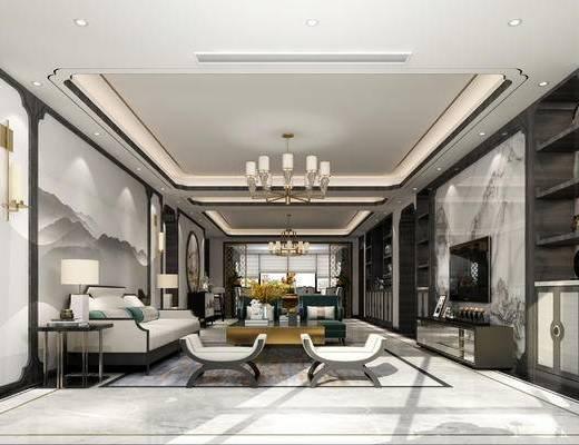 新中式客厅, 吊灯, 多人沙发, 壁画, 茶几, 电视柜, 置物柜, 边几, 台灯, 凳子, 新中式