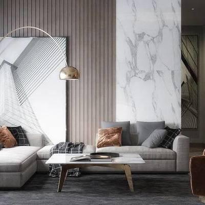 现代客厅, 茶几, 多人沙发, 落地灯, 壁画, 单人沙发, 地毯, 现代