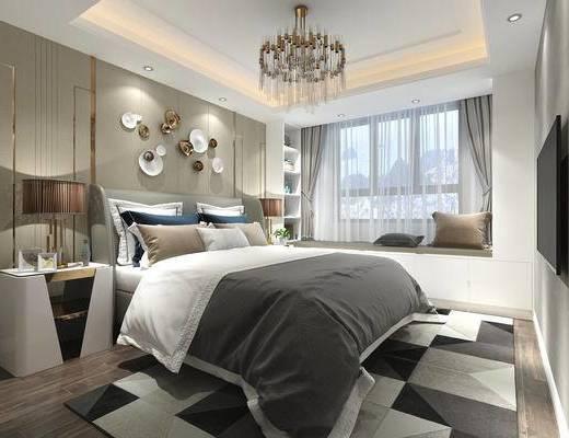 卧室, 金属吊灯, 后现代, 后现代卧室, 后现代吊灯, 后现代台灯, 床