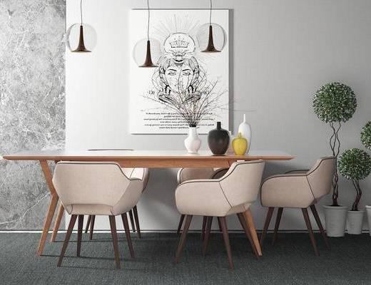 桌椅组合, 桌子, 椅子, 吊灯, 壁画, 盆栽, 现代
