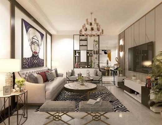 后现代, 客厅, 卧室, 餐厅, 沙发, 茶几, 吊灯, 餐桌, 盆栽, 台灯
