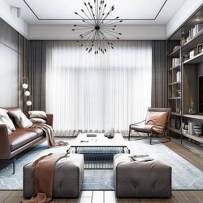 现代客厅, 多人沙发, 吊灯, 置物柜, 椅子, 茶几, 沙发凳, 现代