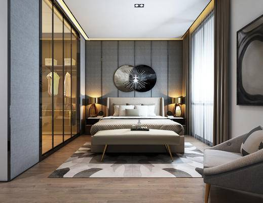 现代卧室, 双人床, 床尾塌, 壁画, 床头柜, 台灯, 椅子, 现代