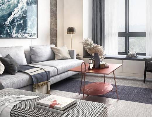 现代客厅, 多人沙发, 茶几, 沙发凳, 边几, 单椅, 挂画, 现代