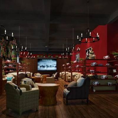 现代咖啡厅, 吊灯, 椅子, 茶几, 置物柜, 现代