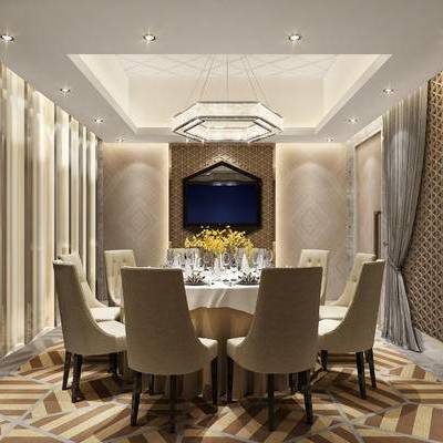 现代包间, 桌子, 椅子, 吊灯, 地毯, 花瓶, 现代