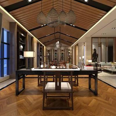 中式客厅, 桌子, 椅子, 台灯, 置物柜, 多人沙发, 吊灯, 地毯, 中式
