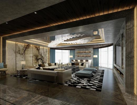 会客厅, 客厅, 会客区, 沙发组合, 沙发茶几组合, 洽谈区