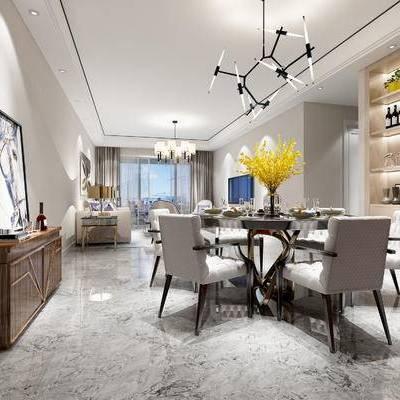 现代客厅, 桌子, 椅子, 壁画, 吊灯, 置物柜, 边柜, 多人沙发, 茶几, 边几, 台灯, 花瓶, 现代