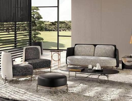 现代简约, 沙发茶几组合, 现代沙发, 现代, 下得乐3888套模型合辑