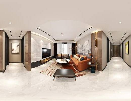 现代客餐厅, 落地灯, 多人沙发, 茶几, 椅子, 边几, 台灯, 桌子, 凳子, 壁画, 现代