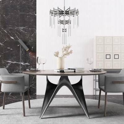 桌椅组合, 桌子, 椅子, 吊灯, 置物柜, 花瓶, 现代