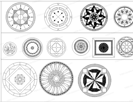 CAD, 平面, 模块, 地拼花