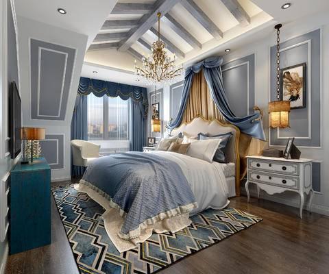 欧式卧室, 双人床, 床头柜, 吊灯, 壁画, 电视柜, 台灯, 椅子, 地毯, 欧式