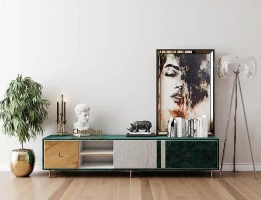 摆件组合, 电视柜, 装饰画, 落地灯, 盆栽, 后现代