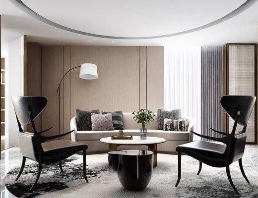 现代, 会客厅, 办公室, 沙发, 椅子, 茶几, 落地灯, 花瓶, 1000套空间酷赠送模型
