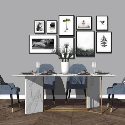 桌椅组合, 餐桌, 椅子, 挂画, 餐具, 现代