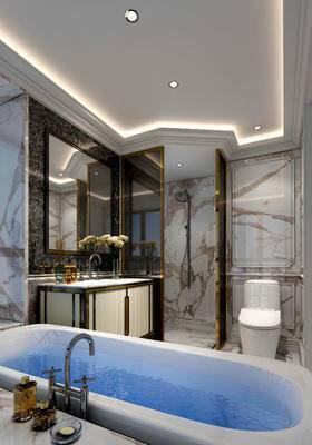 卫生间, 洗手台, 马桶, 浴缸, 镜子, 花瓶, 欧式