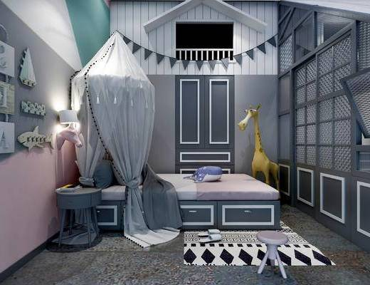 北欧卧室, 壁画, 单人床, 边几, 凳子, 壁灯, 玩具, 北欧