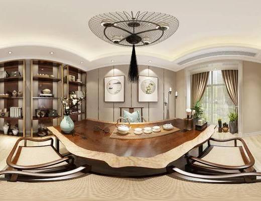 新中式茶室, 壁画, 桌子, 椅子, 吊灯, 置物柜, 新中式