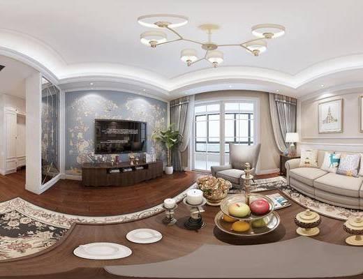 美式客餐厅, 多人沙发, 电视柜, 椅子, 茶几, 壁画, 边几, 台灯, 桌子, 美式