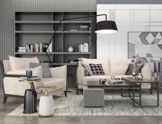 现代沙发组合, 双人沙发, 沙发椅, 落地灯, 茶几, 置物柜, 摆件, 现代
