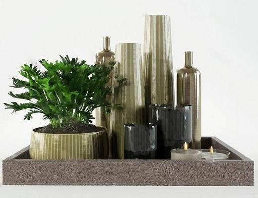现代简约, 植物组合, 陈设品组合, 花瓶组合