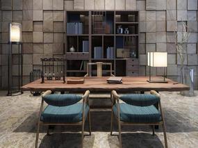中式, 茶台, 桌椅组合, 置物柜, 台灯