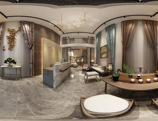窗帘店, 窗帘, 桌子, 椅子, 台灯, 茶桌, 茶具, 盆栽, 床, 新中式