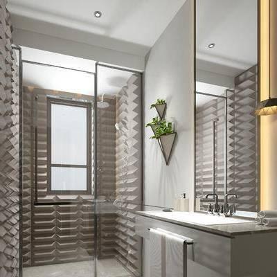 卫浴, 吊灯, 洗手台, 镜子, 淋浴间, 中式