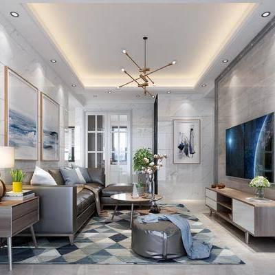 现代客厅, 现代餐厅, 客餐厅, 沙发组合, 沙发茶几组合, 现代沙发, 餐桌椅, 桌椅组合