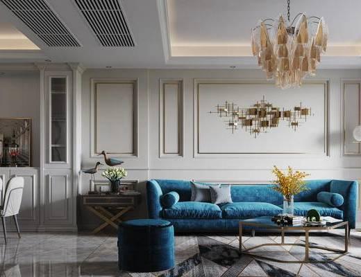 现代美式客厅, 客厅, 沙发组合