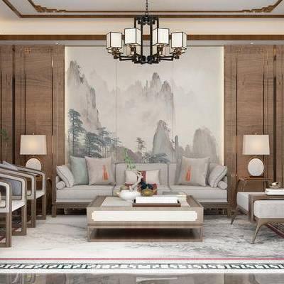沙发组合, 多人沙发, 茶几, 椅子, 壁画, 边几, 台灯, 壁灯, 地毯, 新中式