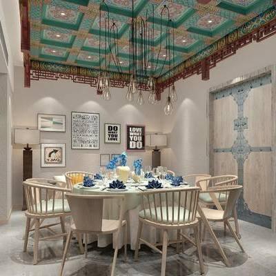 包间, 吊灯, 桌子, 椅子, 壁画, 新中式