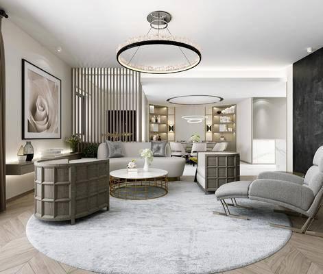 后现代, 客厅, 沙发, 茶几, 吊灯, 挂画, 餐厅, 餐桌, 1000套空间酷赠送模型