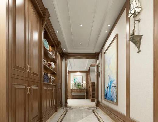美式玄关走廊, 壁灯, 置物柜, 壁画, 边柜, 美式
