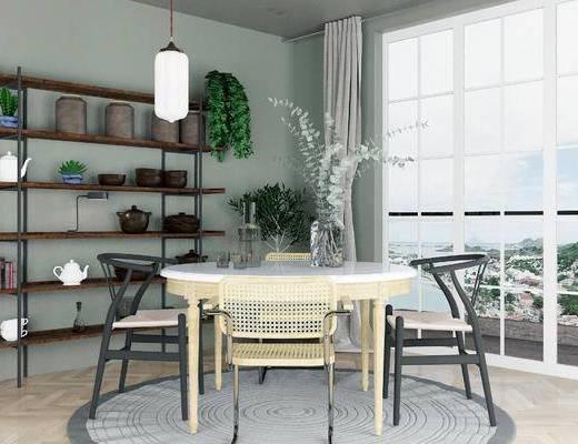桌椅组合, 桌子, 椅子, 吊灯, 北欧