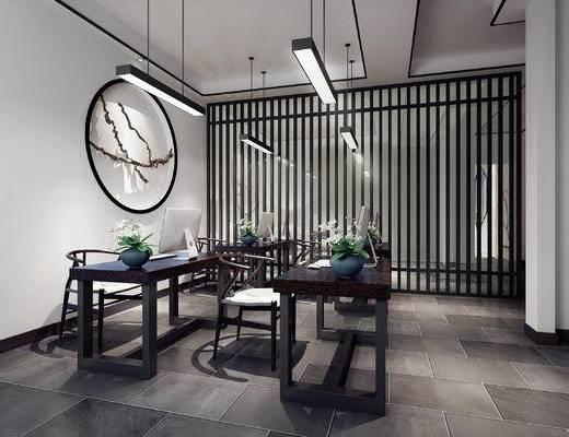 中式办公室, 桌子, 椅子, 吊灯, 壁画, 中式