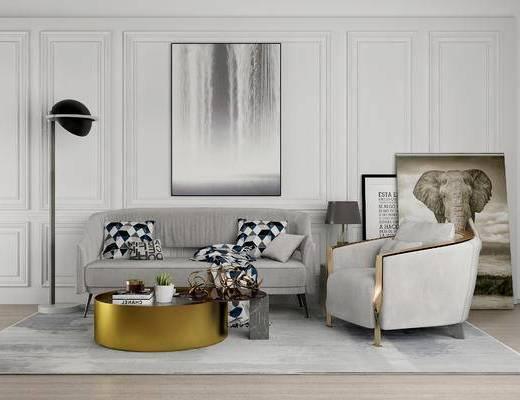 现代沙发组合, 双人沙发, 茶几, 单椅, 落地灯, 现代