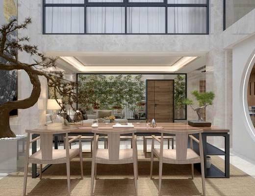 新中式茶室, 桌子, 椅子, 盆栽, 台灯, 多人沙发, 吧台, 吧椅, 酒柜, 吊灯, 新中式