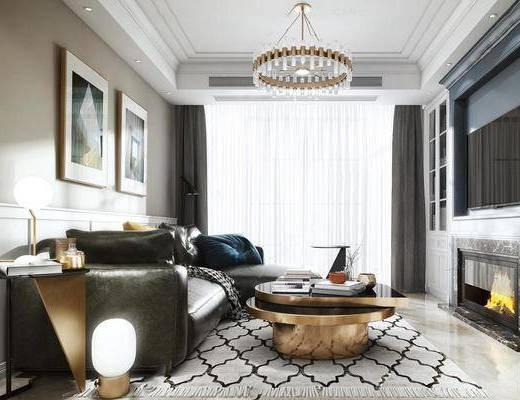 后现代, 客厅, 沙发茶几组合, 吊灯, 挂画